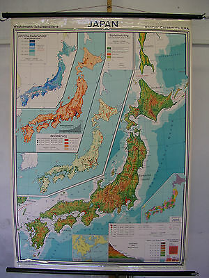 Schulwandkarte map Japan Nippon, Made in USA for Westermann 1970 1,5Mio 110x156c