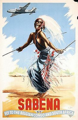 Vintage Sabena Airlines Flights to Belgian Congo and S Africa Poster  A3 Print