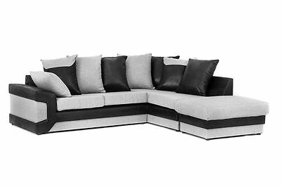 York Fabric Corner Sofa with Large Footstool in Grey with Black or Brown Suede