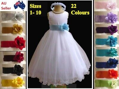 White Formal Communion Flower Girl Pageant Birthday Tulle Dress Sash bridesmaid