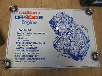 GENUINE SUZUKI DR400 WORKSHOP CUT AWAY ENGINE CHART ORIGINAL 1980's POSTER