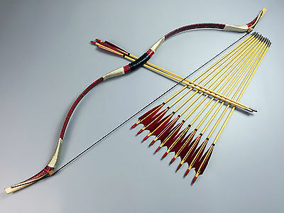 45LBS Handmade Cobra Red Snakeskin Mongolian Bow Longbow Recurve+12 wood arrows