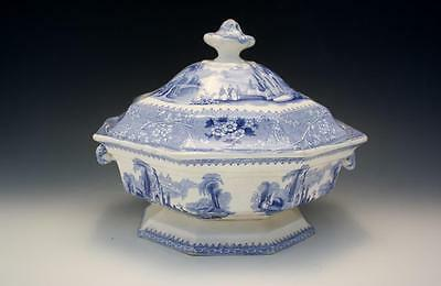 Antique Staffordshire W. Adams & Sons Columbia Round Covered Vegetable Blue NR