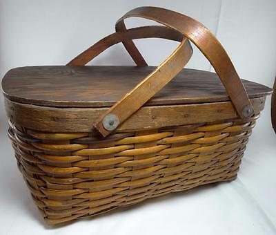 Vintage Large Wicker Basket w/Lid - Picnic Pie Collectible Two/Double Handles