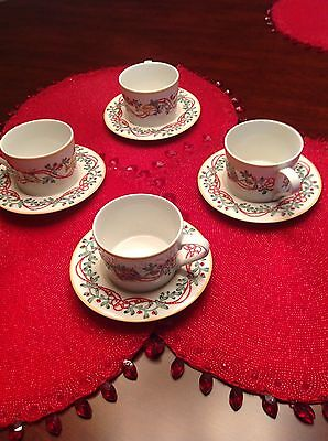 Block Whimsy Christmas China Nutcracker Set Of 4 Cups And Saucers NEW Dinnerware