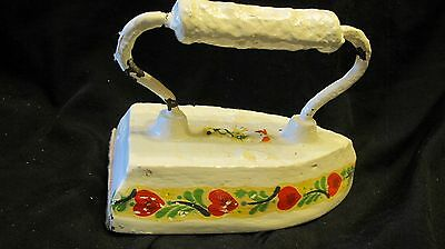 Vintage Cast Sad Iron,Hand Painted? Creamy White,Red Hearts&Leaf Folk Design