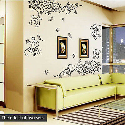 Noir fleurs papillon Décorations murale home office mur sticker Decal Art