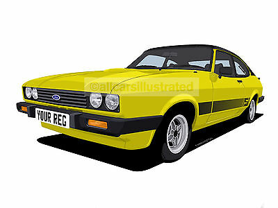 Ford Capri 2.0S Graphic Car Art Print Picture (Size A4). Personalise It!