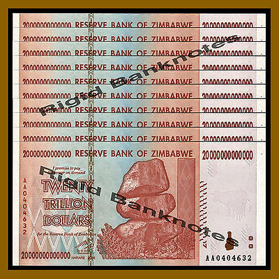 Zimbabwe 20 Trillion Dollars x 10 Pcs, 2008 AA = (2 x 100 Trillion) Unc