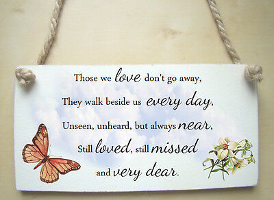 Wooden handmade Bereavement Memorial / Remembrance Printed poem Plaque Gift