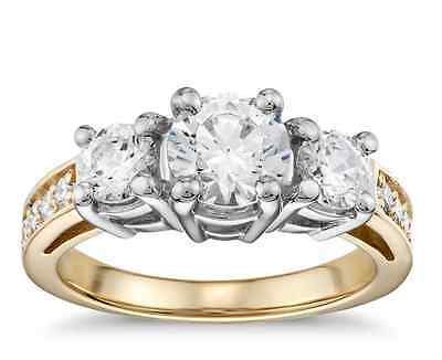 2.35 ct Brilliant Cut Two Tone Diamond Engagement Ring Solid 14k Yellow Gold