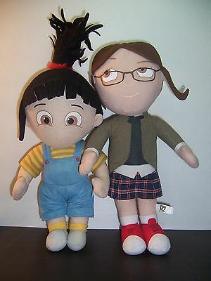 """Despicable Me - Sisters - Margo & Agnes 14"""" Plush Doll Toys - Lot of 2 VGC"""
