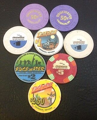 Set Of 8 Edgewater 50¢-$1-$2-$2.50-$5 Casino Chips Laughlin Nevada Mix Mold
