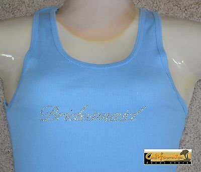 """BRIDESMAID"" Light Blue Tank Top American Apparel Shirt Wedding Junior Womens"