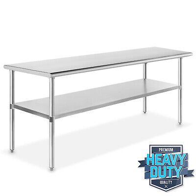 "Stainless Steel Commercial Kitchen Work Food Prep Table - 24"" x 72"""