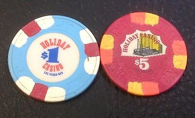 Set Of 2 Holiday $1-$5 Casino Chips Las Vegas Nv H&C-House Mold Free Shipping