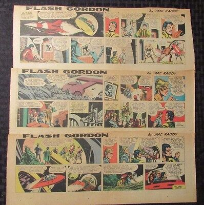 1966 FLASH GORDON Color Newspaper Strips by Mac Raboy LOT of 3 VG+