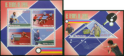 Congo Table Tennis Ping Pong Sports MNH stamp set 4val sheet and ss