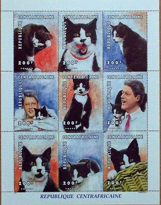 American President Clinton & His Cat-Republic Central Frica Sheetlet Of 9 Stamps
