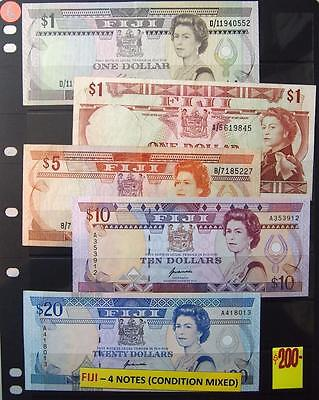 Fiji Set Of 5  Bank Notes Mixed Condition