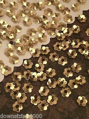 Sequins 4mm Tiny Flower Cup Gold Metallic Choose Pack Size