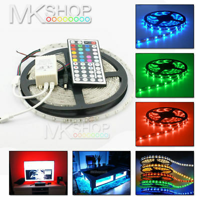 5M 300 LED RGB Colour Changing Waterproof Strip Light Remote Control Lighting UK