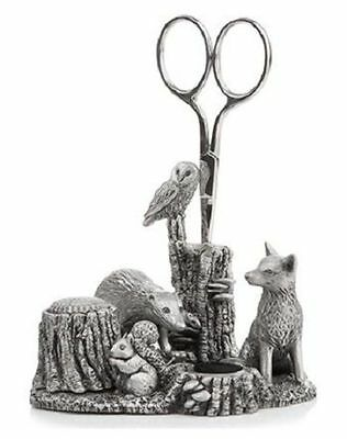 A.E. Williams Sewing Station Pewter Wildlife Thimble Scissors Pin Cushion 8923