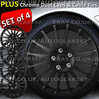 Universal Matt Black Multi Spoke Car Wheel Trims Hub Covers Set of 4. Full Set