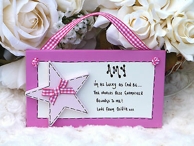 D14 Personalised Godmother, Godfather, Godparents Christening Day gift plaque