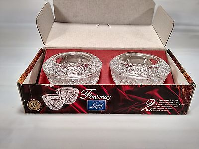 Cristal D'Arques Crystal Pair of Candlesticks Candle Holder Fontenay Lead In Box