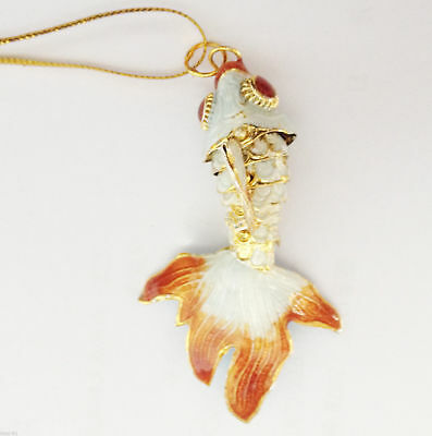 Articulated Cloisonne Enamel CHINESE Gold Fish Figurine Pendant Ornament Gift