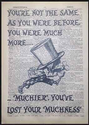 Mad Hatter Quote Alice in Wonderland Print Vintage Dictionary Picture Wall Art