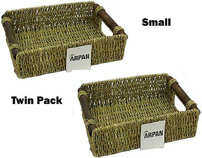 2 x Arpan Small Seagrass Storage Basket With Wooden Handle NEW - 11-413S-2PK