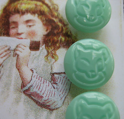 "Set of 4 ~ Vintage 1/2""Jade Green Teddy Bear Glass Buttons~ old stock 1920's"