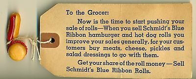 1940's Schmidt's Blue Ribbon Rolls Grocer Promotion Tag w/Plastic Charms