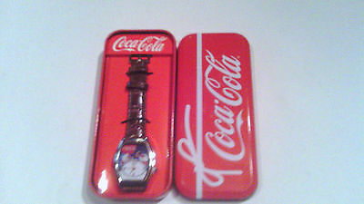 Coca Cola Santa Claus Wrist Watch Analog Brown Faux Leather Band New in Box