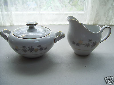 Empress China Creamer & Lidded Sugar Bowl GOLDEN SILHOUETTE Leaf Pattern Japan