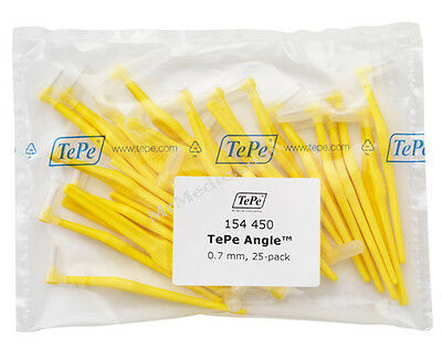 TePe Angle Yellow 0.7mm Interdental Brush - Pack of 25 Brushes
