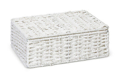 Hamper Storage Basket White Small Paper Rope Box With Lid