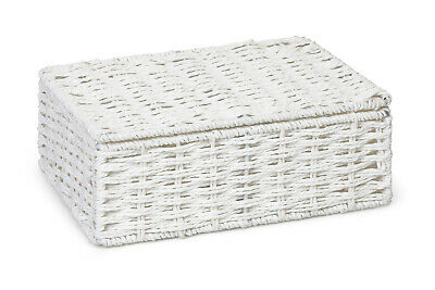White Small Paper Rope Storage Basket Box With Lid for any storages-  WB-9690S