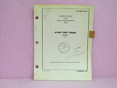 Military Manual 61E244-1 Gyro Test Panel Instruction Manual w/Schematic (2/57)