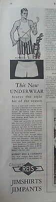 1928 REIS Jimshirts Jimpants Mens Underwear Golf Clubs Original Ad