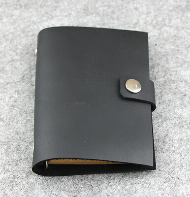 Handmade black small Notebook gift Diary Journal Blank Leather loose leaf  D0510