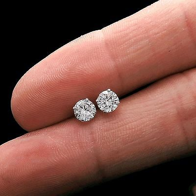 1.00Ct Created Diamond Earrings 14K Genuine White Gold Round Solitaire Studs