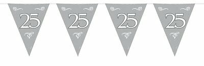 Bunting Silver 25th Aniversary 10m 15 30x22cm Triangle Flags Each with 25 Design