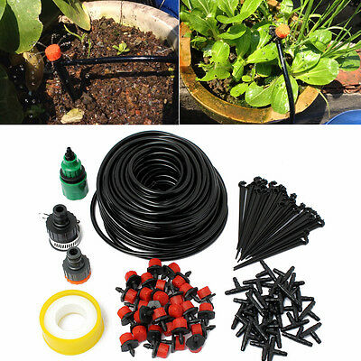 25m Hose 30x Drippers Micro Irrigation Drip System Garden Plant Watering Kits