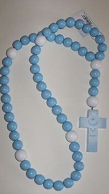 Wood Children's Rosary Made in Philippines Catholic Traditional Baptism Blue