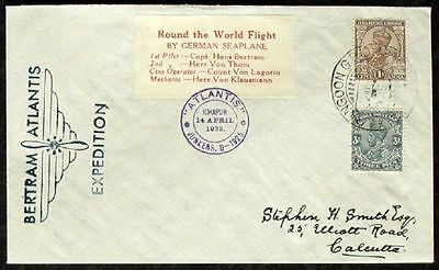 s863) Flugpost Indien Bertram Round the World Flight 1932 to Stephen Smith rs OU