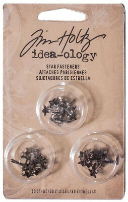 Tim Holtz Idea-ology Star Fasteners Miniature Star Shaped Brads Embellishments