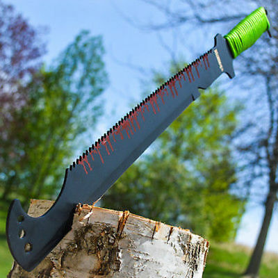 "20"" TACTICAL SURVIVAL Fixed Blade ZOMBIE MACHETE Hunting Sword Full Tang Knife"